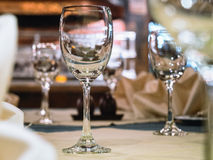 Dining Table set Glass with Blurred Interior restaurant Stock Photos