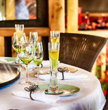 Dining table set for a party Stock Photo