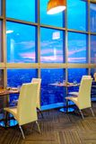Dining table set and skyline view. Beautiful dining table set and skyline view Royalty Free Stock Photos