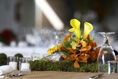 Dining table set for a wedding or corporate event. Table setting for a wedding or dinner event Royalty Free Stock Photos