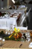 Dining table set for a wedding or corporate event. Table setting for a wedding or dinner event royalty free stock image