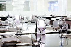 Dining table setting. At restaurant Royalty Free Stock Images