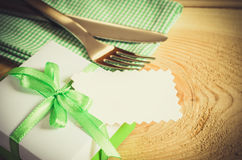 Dining Table Setting. Cutlery with Empty Tag and Present. Stock Photos