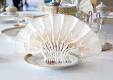 Dining table setting detail. Beautifully folded napkin on a dining table setting Stock Photos