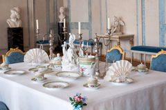 Dining table setting. Luxurious dining room and table setting in rundale palace, latvia Stock Image