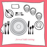 Dining table setting proper arrangement of cartooned cutlery Royalty Free Stock Image