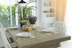 Dining table setting. Provence style Dining table setting at home stock image
