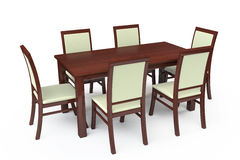 Dining Table with six chairs Stock Photo