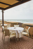 Dining table on the terrace near the beach in Rabat Stock Photography