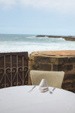 Dining table on the terrace near the beach in Rabat Stock Image