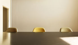 Dining table with three chairs Royalty Free Stock Images