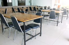 Dining table in university. Dining table in the university Stock Photo