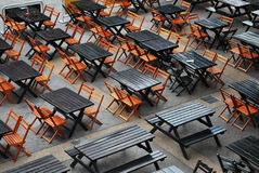 Dining Tables. Arranged Empty Dining Tables and Chairs Royalty Free Stock Photo