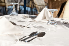 Dining tables ready for customers, outdoor evening Stock Images