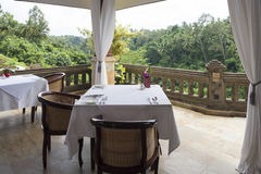 Dining at terrace in jungel Stock Images
