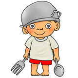 Dining time. Cartoon illustration of young boy with big fork and spoon Stock Photography