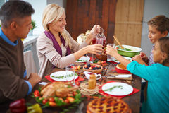 Dining together Stock Images