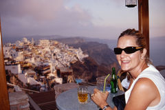 Dining with a view of Fira Stock Photo