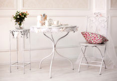 Dining white room interiour with iron table and chair Stock Photography