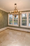 Diningroom with view. Empty diningroom with lots of windows and view of lake Royalty Free Stock Photo