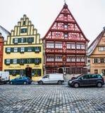 Dinkelsbà ¼百升,巴伐利亚,德国-木构架的大厦 图库摄影