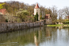 Dinkelsbuehl, Franconia, City Wall with Defense To Stock Photography