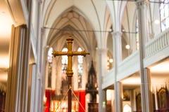 DINKELSBUHL NIEMCY, PAŹDZIERNIK, - 02 2016: Wnętrze kościół St George w Dinkelsbuhl, Bavaria Ja jest a Zdjęcia Royalty Free
