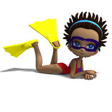 Dinky toon girl with diving goggles and. Flippers. 3D rendering with clipping path and shadow over white vector illustration