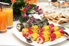 Dinner. Fish, dinner, breakfast, supper, juice, glass, plate, meal, dish, China, Japan. the east, food, products of the sea, cafe, restaurant, table, cloth Stock Photos
