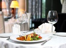 Dinner. Classic dinner setting in the restaurant Stock Photo