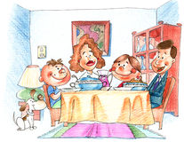 The dinner. The family dinner royalty free illustration