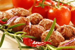 Dinner. Tasty pork with herbs and tomatoes stock image