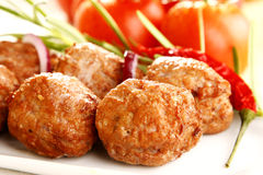 Dinner. Tasty fried pork with paprika and herbs royalty free stock photo