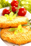 Dinner. Fried chicken with herbs and tomatoes stock image