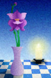 Dinner At 8. Painting of a table holding a vase with flower and a glowing candle Stock Image