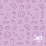 Dinner Background. Seamless Pattern With Line Icons of Food Like Pizza, Cake, Steak, Chicken, Wine, Chocolate, Orange etc. Royalty Free Stock Photography