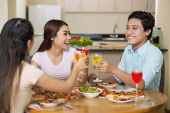 Dinner with best friends Stock Images