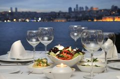 Dinner At The Bosphorus, Istanbul - Turkey (Night Stock Images