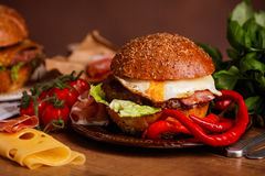 Dinner with burger Stock Photography