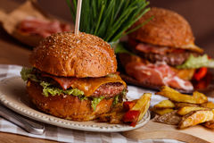 Dinner with burger Royalty Free Stock Photo