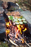 Dinner on campfire, adventure lifestyle camping vacation food Royalty Free Stock Image