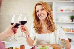 Dinner cheers Royalty Free Stock Photography