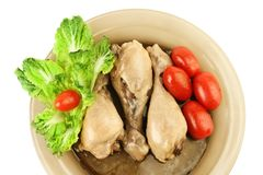 Dinner. Chicken legs and vegetables Royalty Free Stock Photography