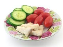 Dinner with chicken meat. Dinner with chicken meat, isolated on white Stock Image