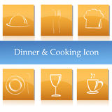 Dinner and cooking icons Stock Photo