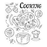 Dinner Cooking Set Of Ingredients And Tools For Food Preparation Hand Drawn Black And White Illustration. Vector Drawing With Different Kitchen And Food Items Royalty Free Stock Image