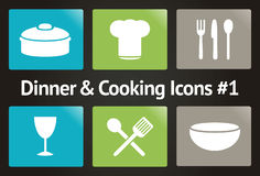 Dinner & Cooking Vector Icon Set #1 Stock Images