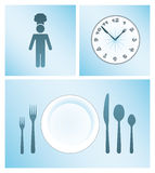 Dinner and Cooking Vector Icon Set Stock Photo