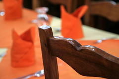 Dinner Décor in Orange Royalty Free Stock Photos