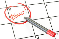 Dinner date on calendar concept, 3D Stock Images
